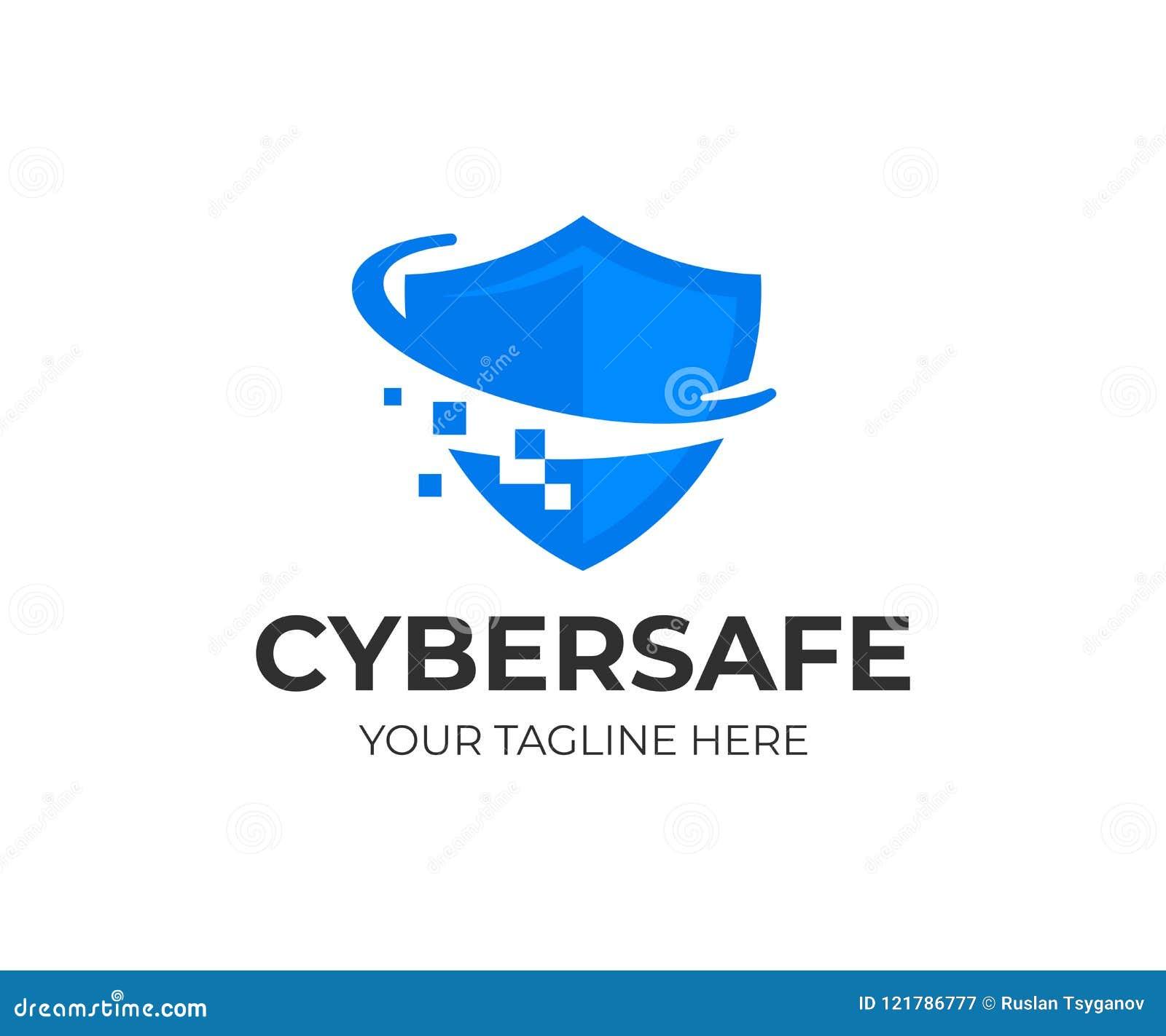 Het ontwerp van het het schildembleem van de Cyberveiligheid Informatie en van de netwerkbescherming vectorontwerp