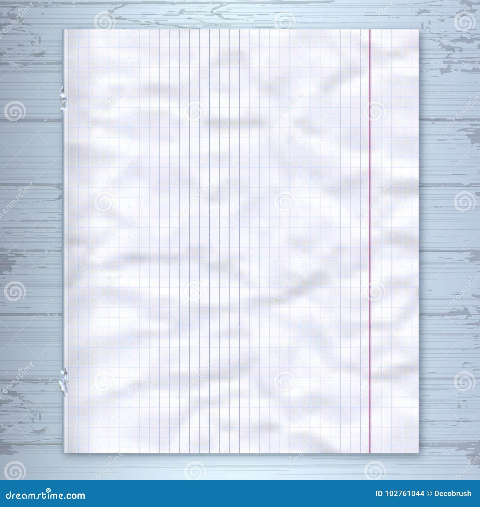 Het ontwerpmalplaatje van de notitieboekjepagina, gevoerde document houten achtergrond Vectormodel