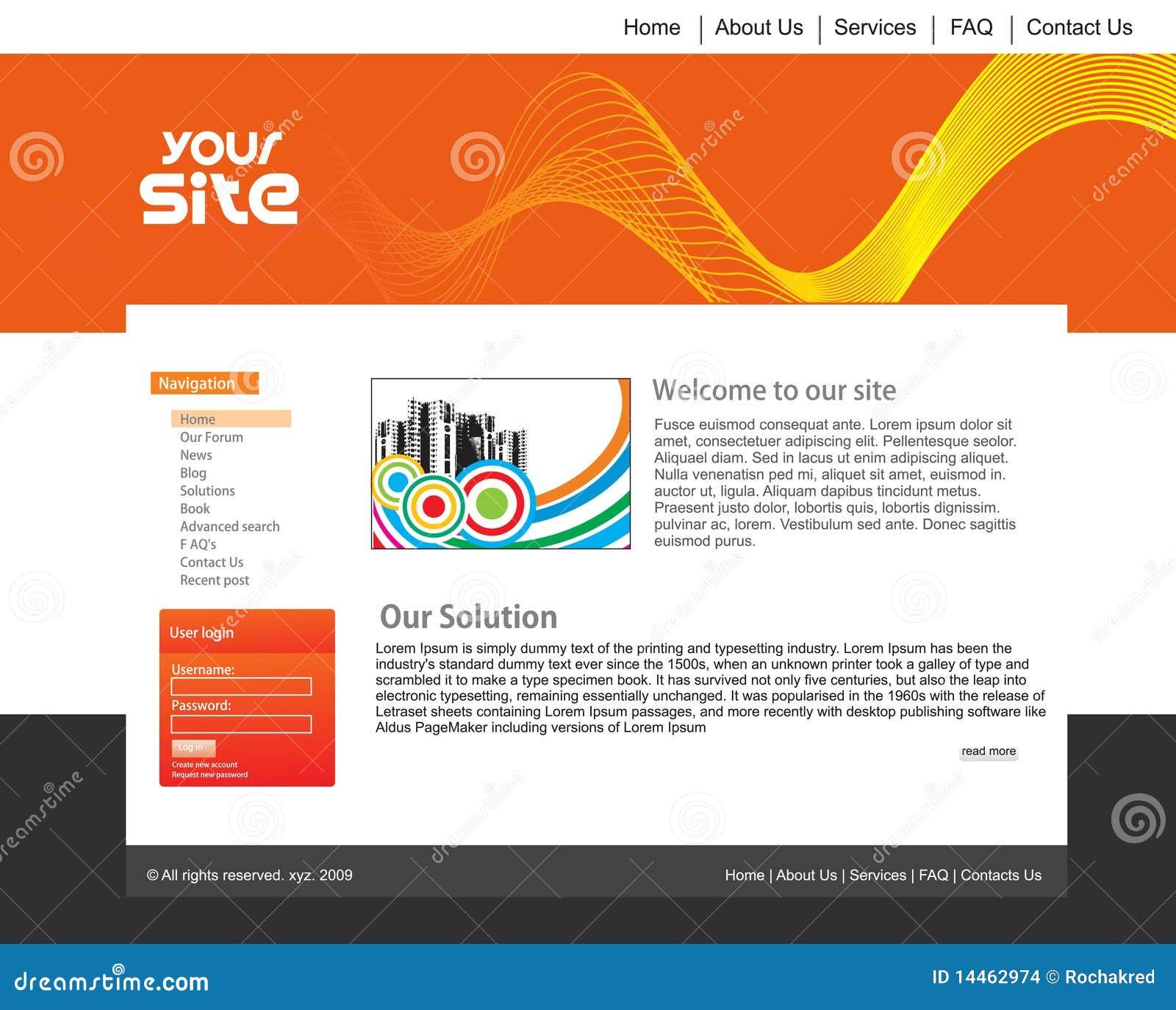 Het ontwerpmalplaatje van de website