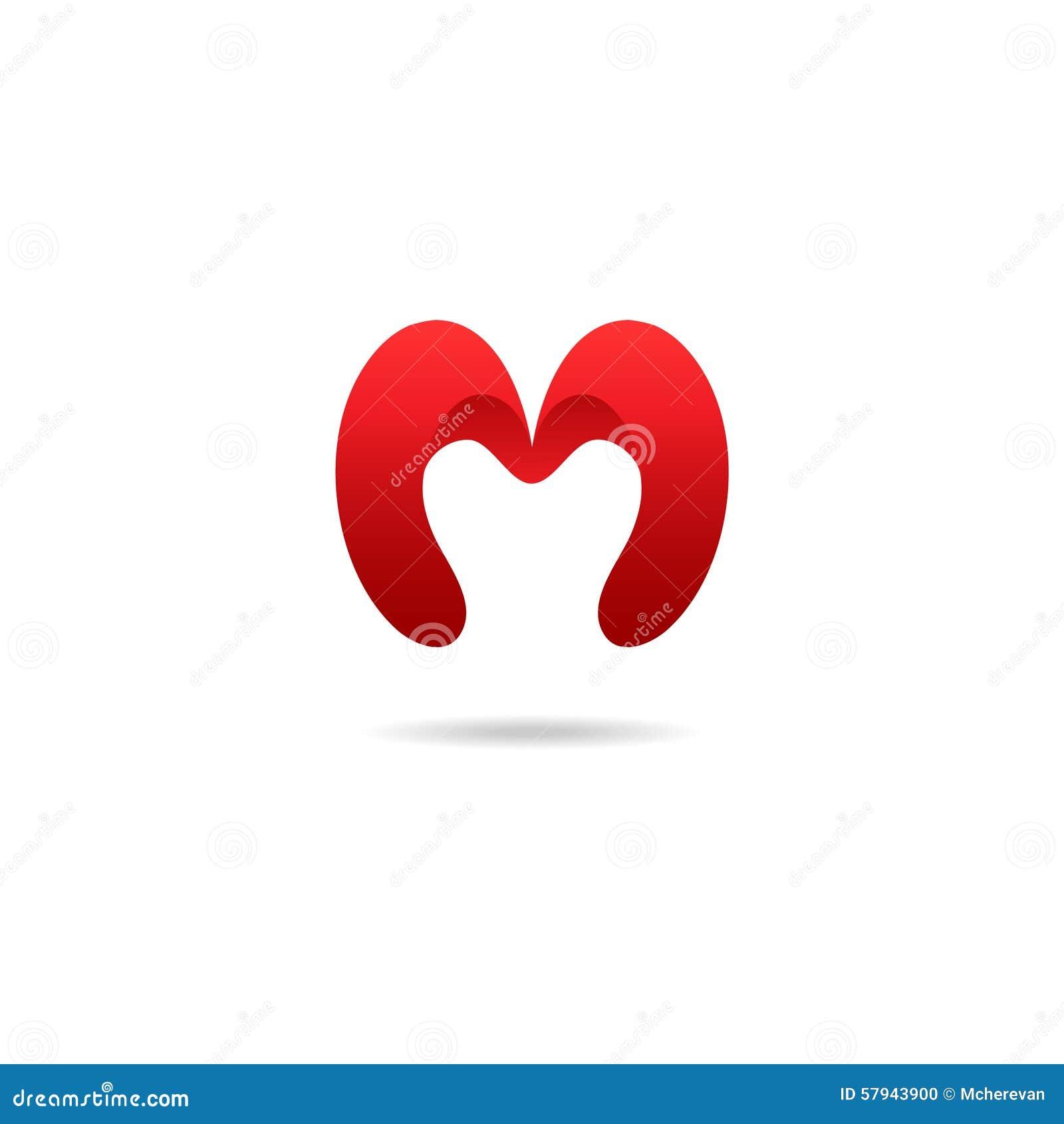 Het ontwerpmalplaatje van het brievenm embleem in rode kleuren Vector logotype