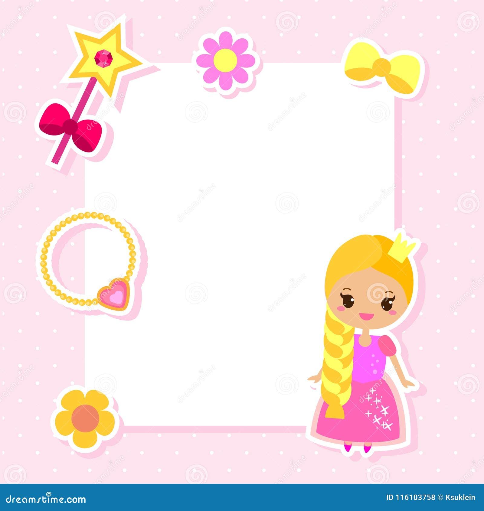 Het ontwerpmalplaatje van het prinseskader voor foto s, kinderendiploma s, jonge geitjescertificaat, uitnodigingen, plakboek en e