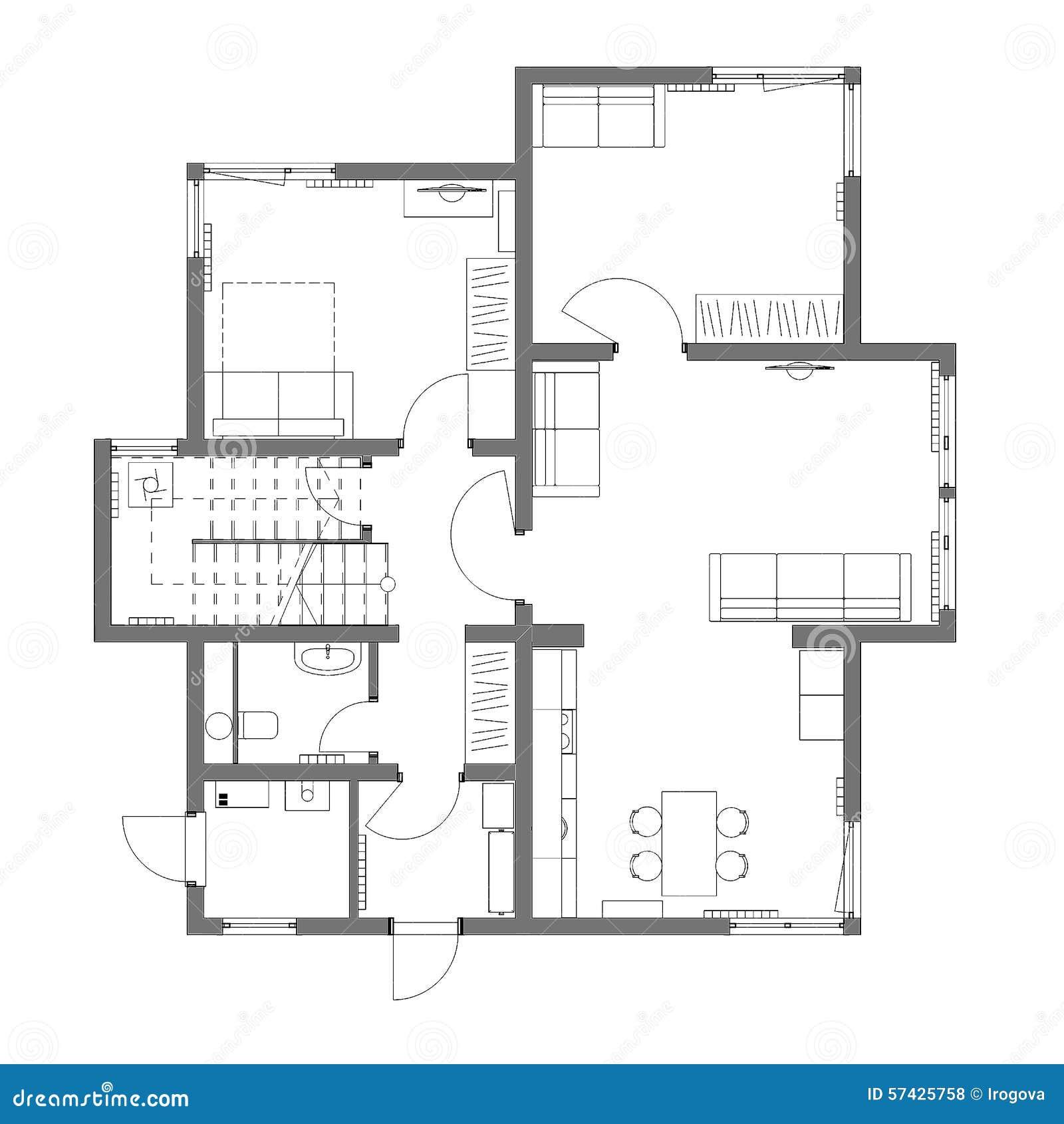 Het ontwerpplan van regeling stock illustratie afbeelding 57425758 - Idee huis uitbreiding ...