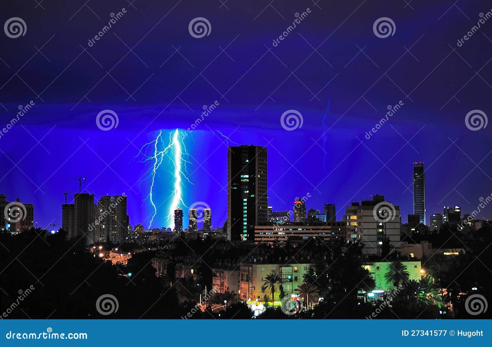 Het Onweer van de Bliksem van Tel Aviv, Israël