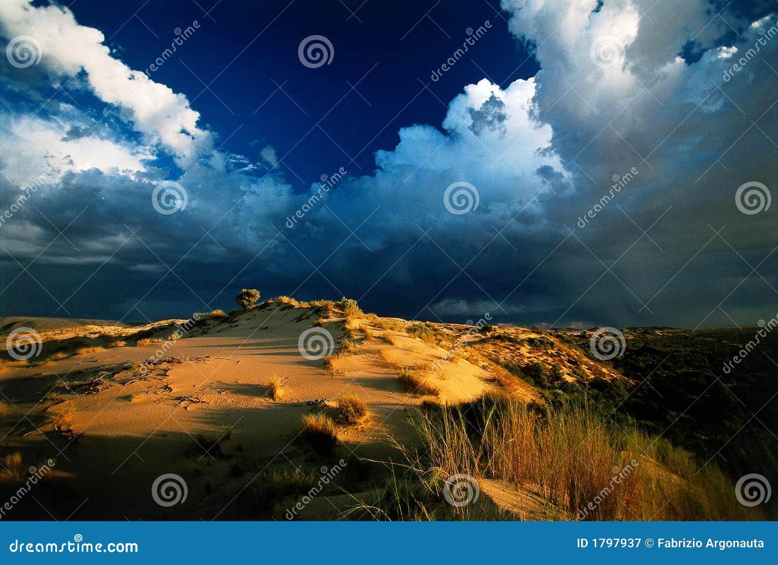 Het onweerszonsondergang van de woestijn
