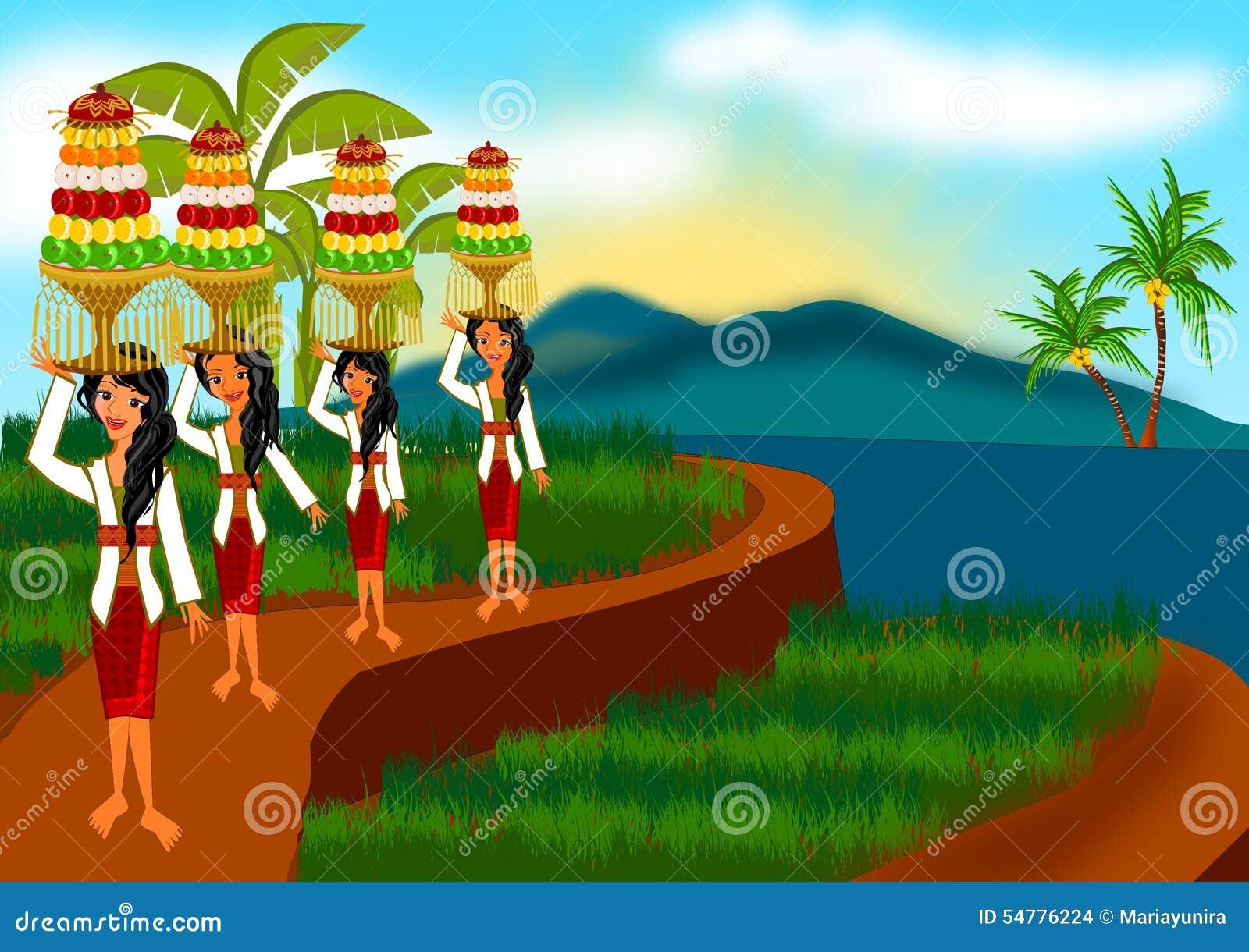 Het oogsten ceremonie in Bali