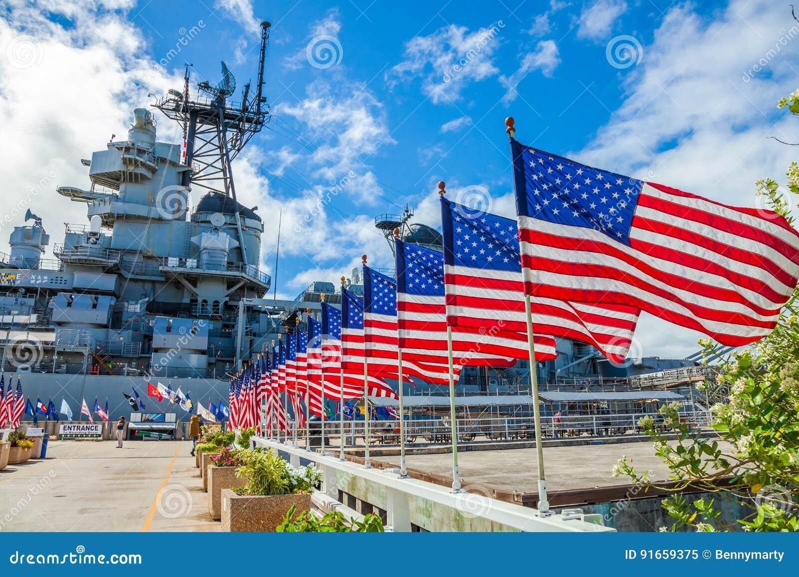 Het Oorlogsschip herdenkingsvlaggen van Missouri