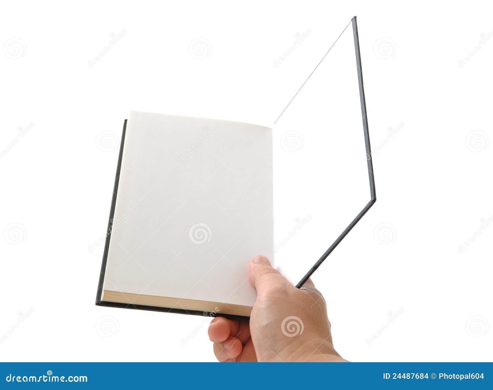 Het open lege boek van de hand