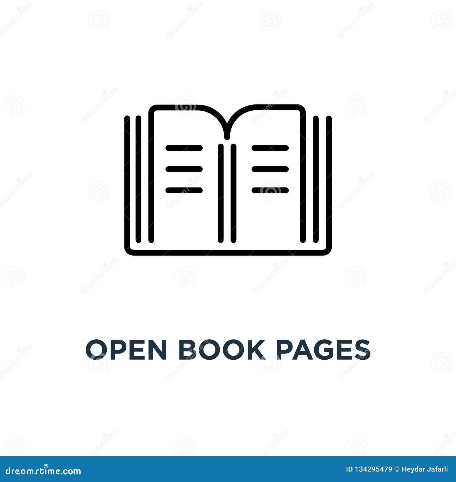 Het open pictogram van boekpagina s Lineaire eenvoudige elementenillustratie Librar