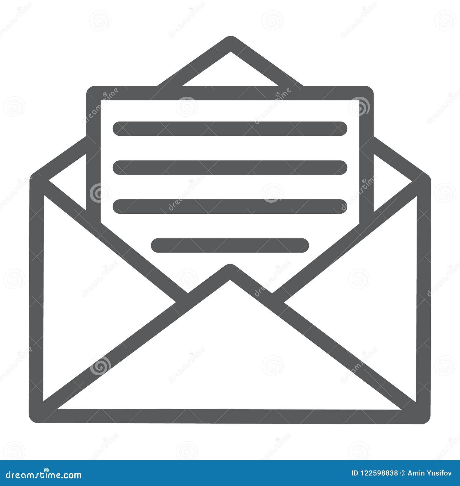 Het open pictogram van de postlijn, envelop en brief, e-mail