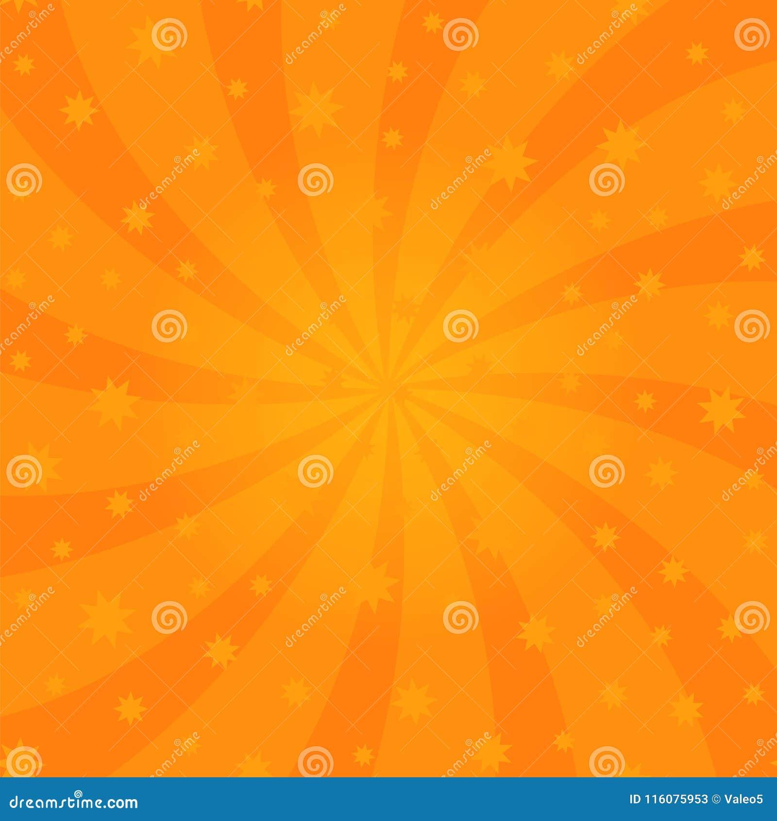 Het oranje Ontwerp van de Beeldverhaalwerveling De stralen van de schroefomwenteling Wervelend Radiaal Sterrig Patroon Hemel met