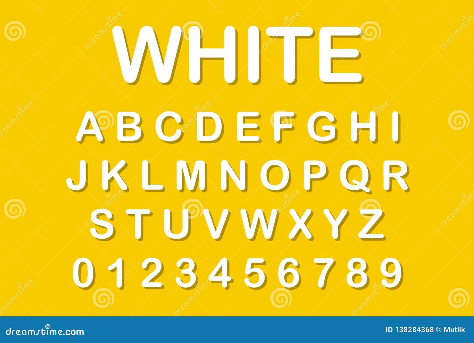 Het originele alfabet Witte brieven op gele achtergrond