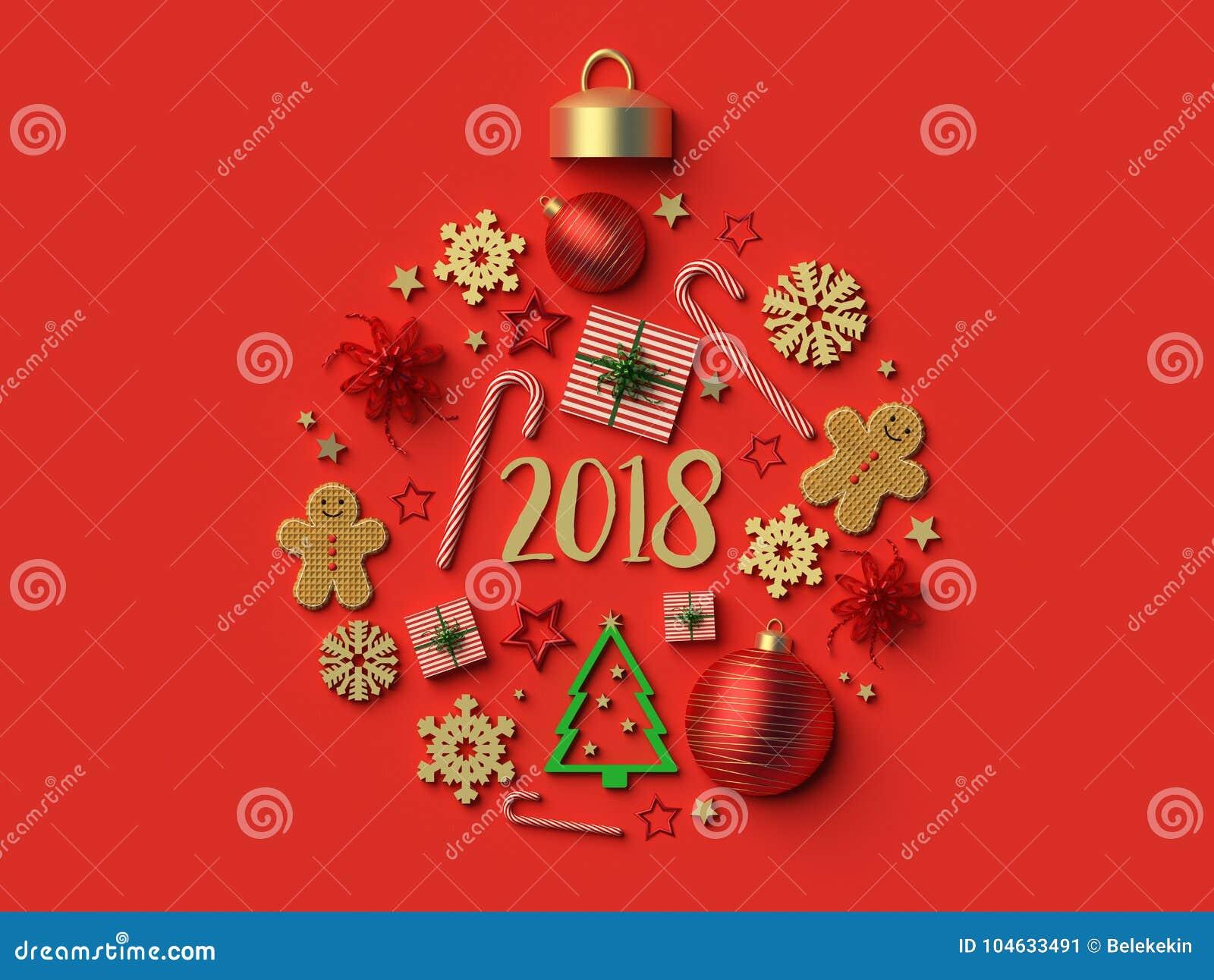 Download 2018 Het Ornamentachtergrond Van De Kerstmisbal Stock Illustratie - Illustratie bestaande uit achtergrond, groen: 104633491