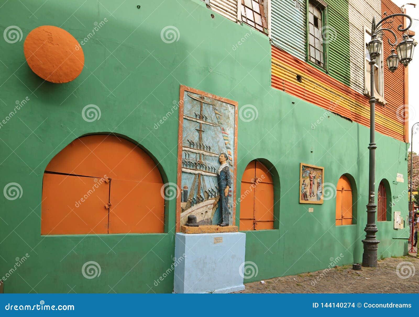 Het Oude Gebouw op Caminito-Steeg van La Boca Neighborhood, een Populaire Toeristenbestemming in Buenos aires, Argentinië