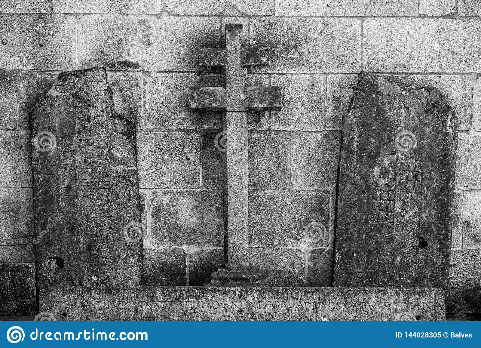 Het oude Gezicht van het Steenbeeldhouwwerk, Braga