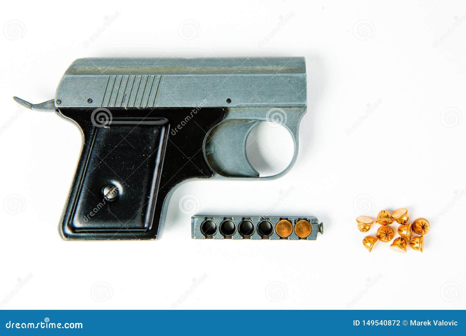 Het oude grijze pistool van de legeringsaanzet met zwarte greep - tijdschrift