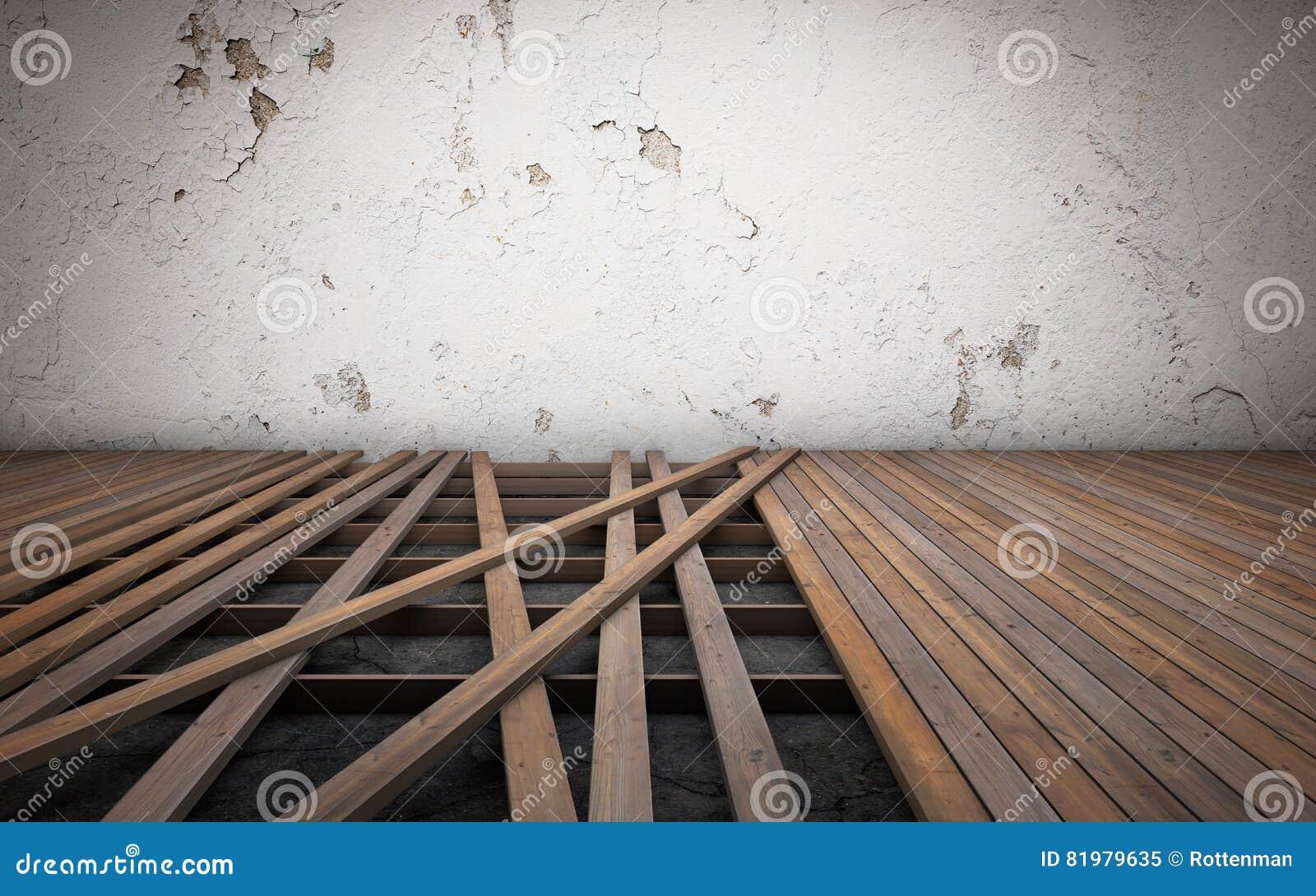 Het oude ruimte herstellen gebroken vloer houten planken het d
