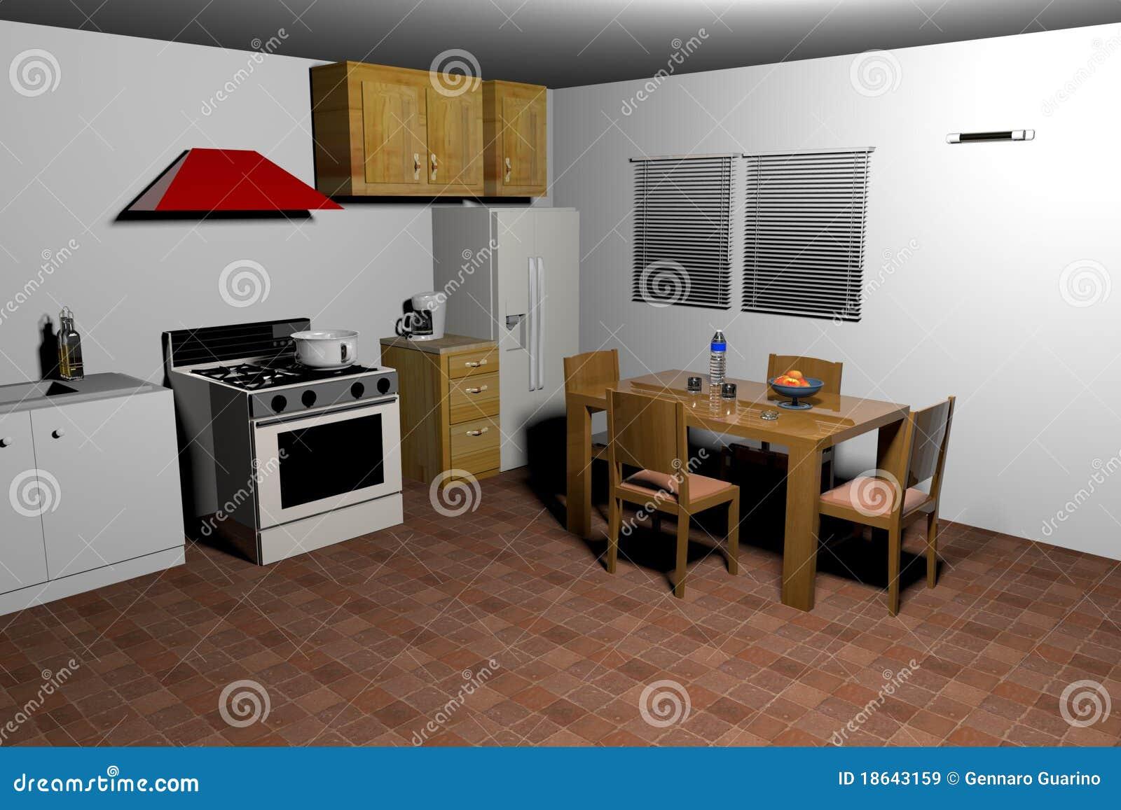 Het oude stijl keuken 3d teruggeven stock illustratie afbeelding 18643159 - Keuken in het oude huis ...