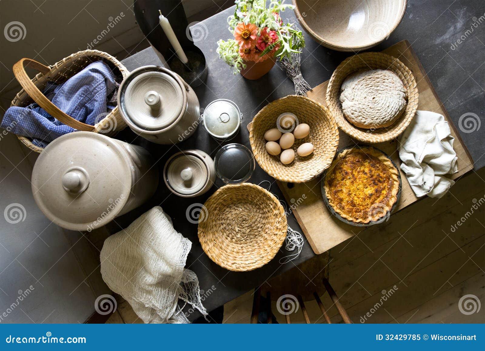 Het oude van de het Landbouwbedrijfkeuken van het Land het Huisvoedsel Koken