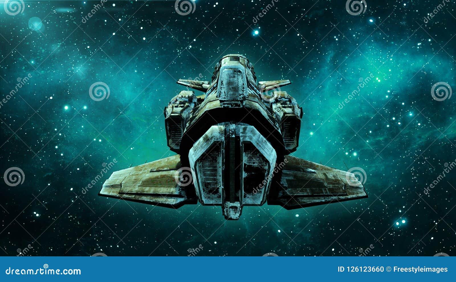 Het oude vreemde ruimteschip in diep ruimte, vuil ruimtevaartuig die in het Heelal met sterren op de achtergrond, 3D UFO achterme