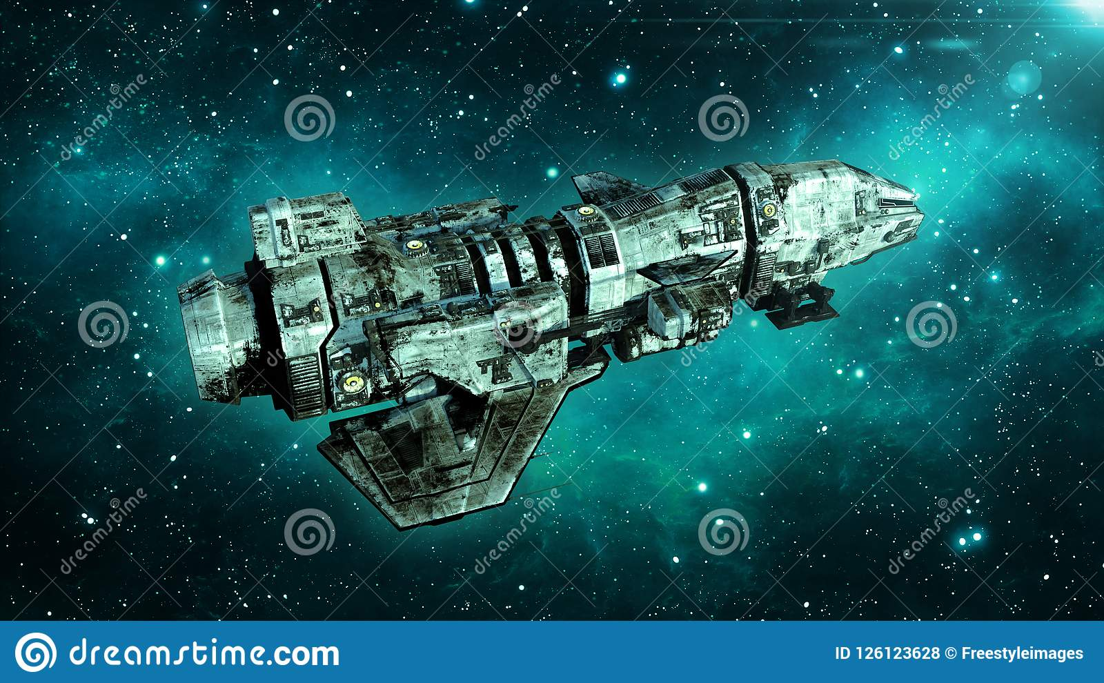 Het oude vreemde ruimteschip in diep ruimte, vuil ruimtevaartuig die in het Heelal met sterren op de achtergrond, 3D UFO hoogste