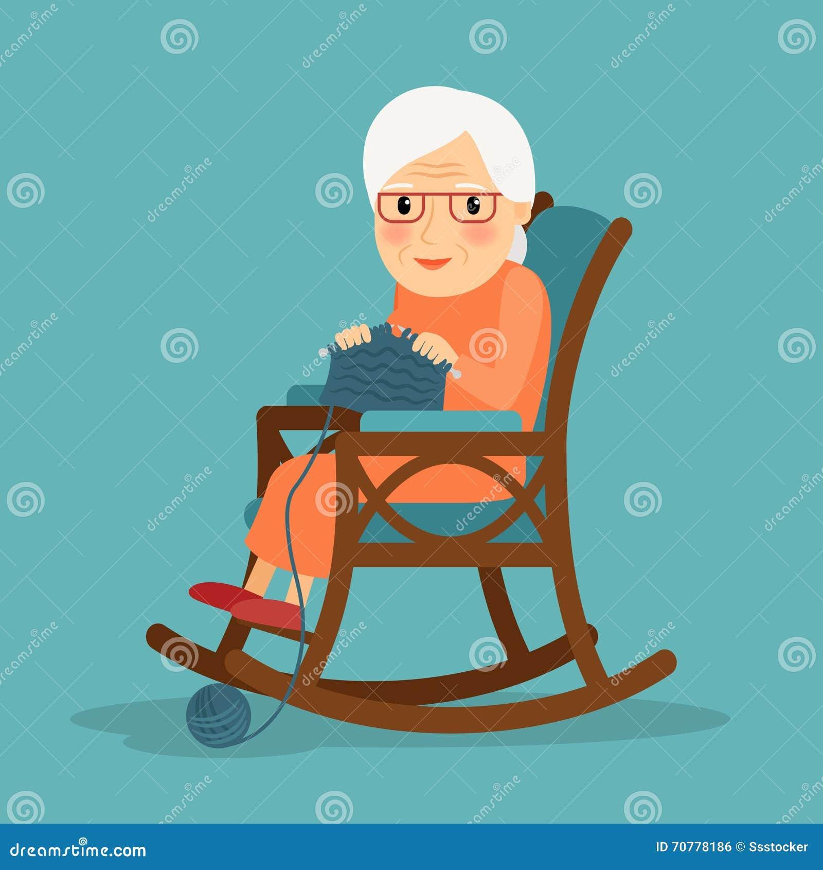 het oude vrouw breien vector illustratie illustratie