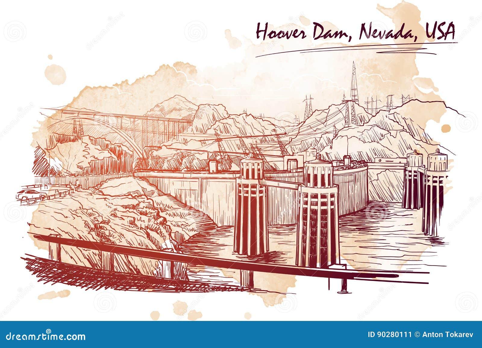 Het overweldigende panorama van de Hooverdam Lineaire hand die op de bedelaars van een grungevlek trekken De stijl van de schets