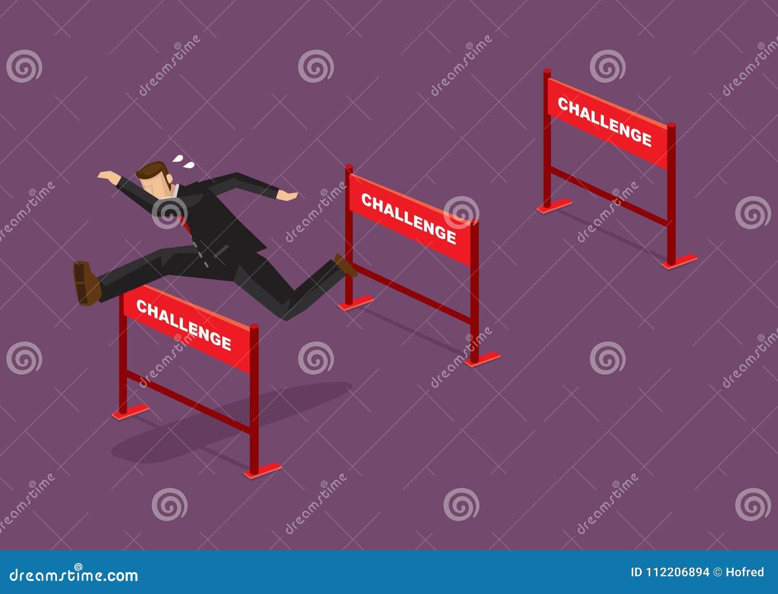 Het overwinnen van Uitdagingen Bedrijfsbeeldverhaal Vectorillustratie