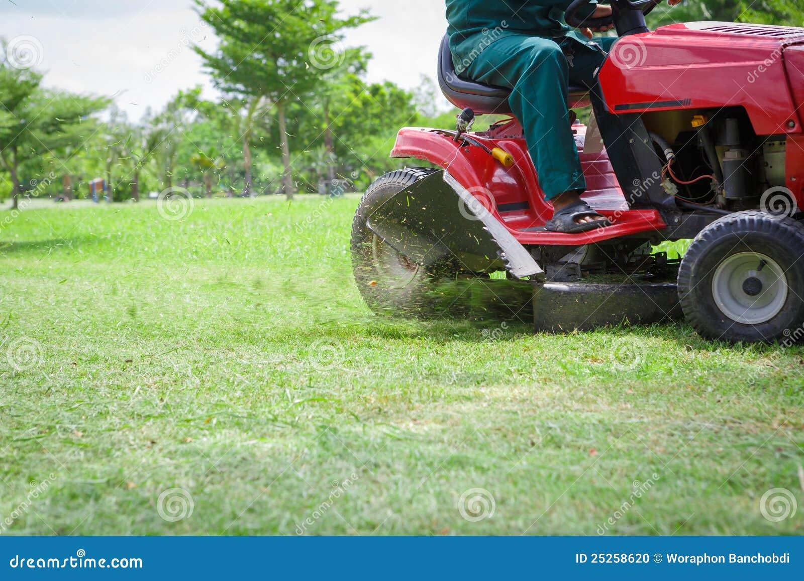 Het overwoekerde gras van de grasmaaier knipsel