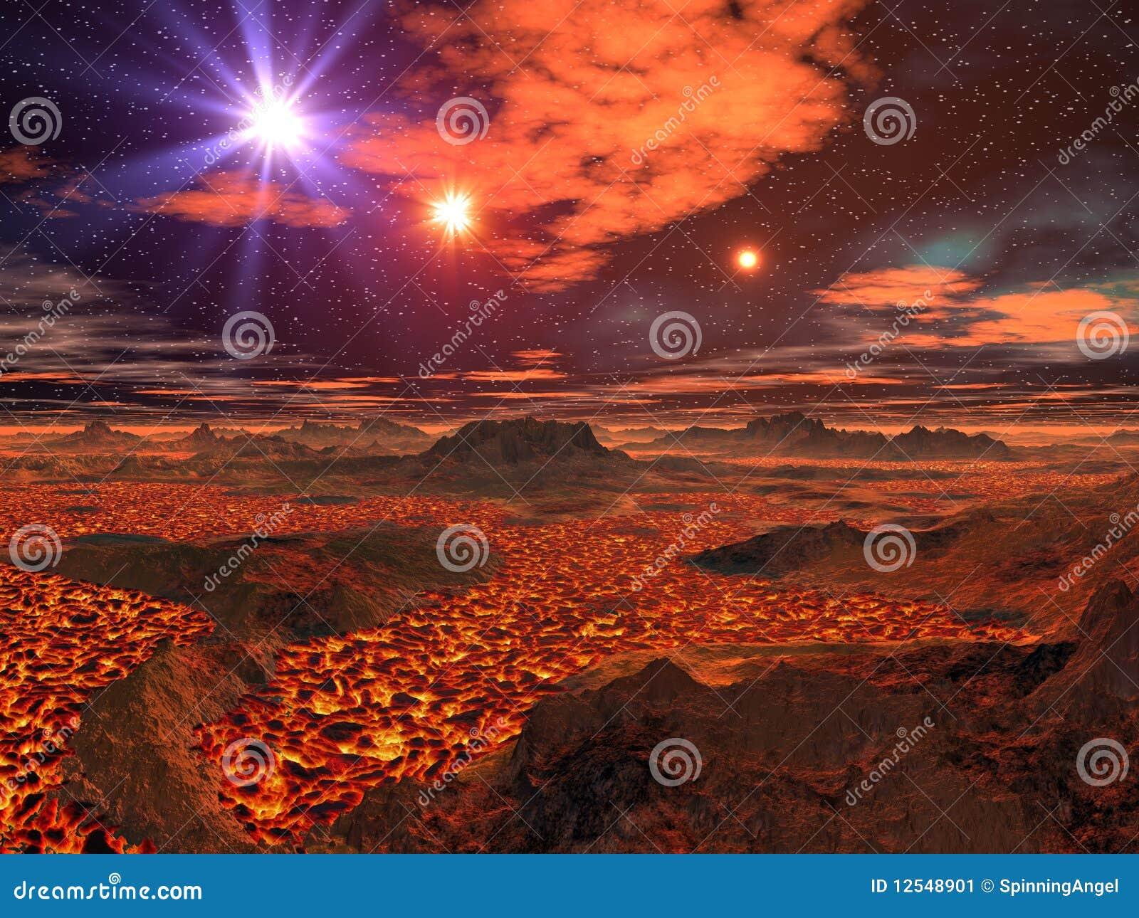 Het Overzees van de lava op Vreemde Planeet