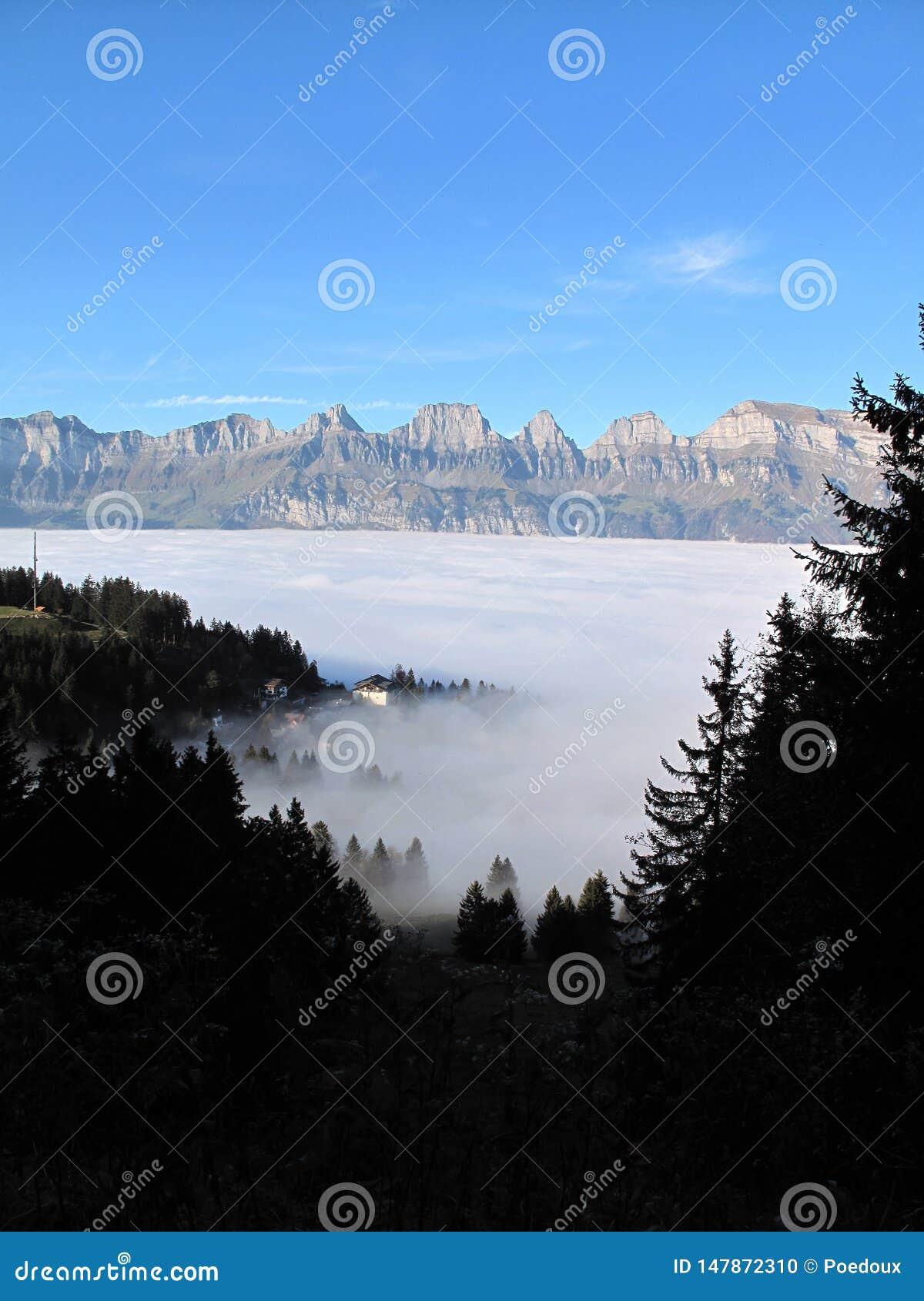 Het overzees van mist over flumserberg met een mening van churfirsten