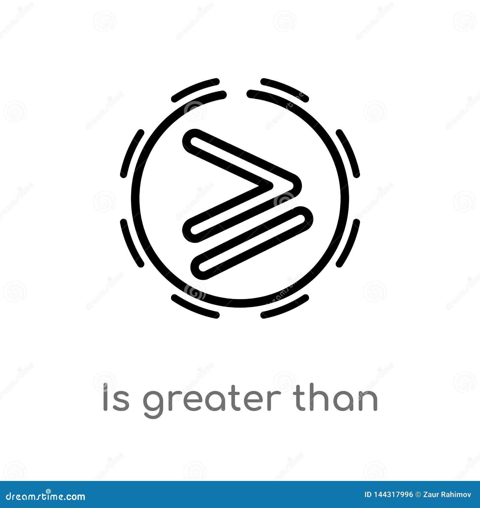 Het overzicht is groter dan vectorpictogram de ge?soleerde zwarte eenvoudige illustratie van het lijnelement van tekensconcept de