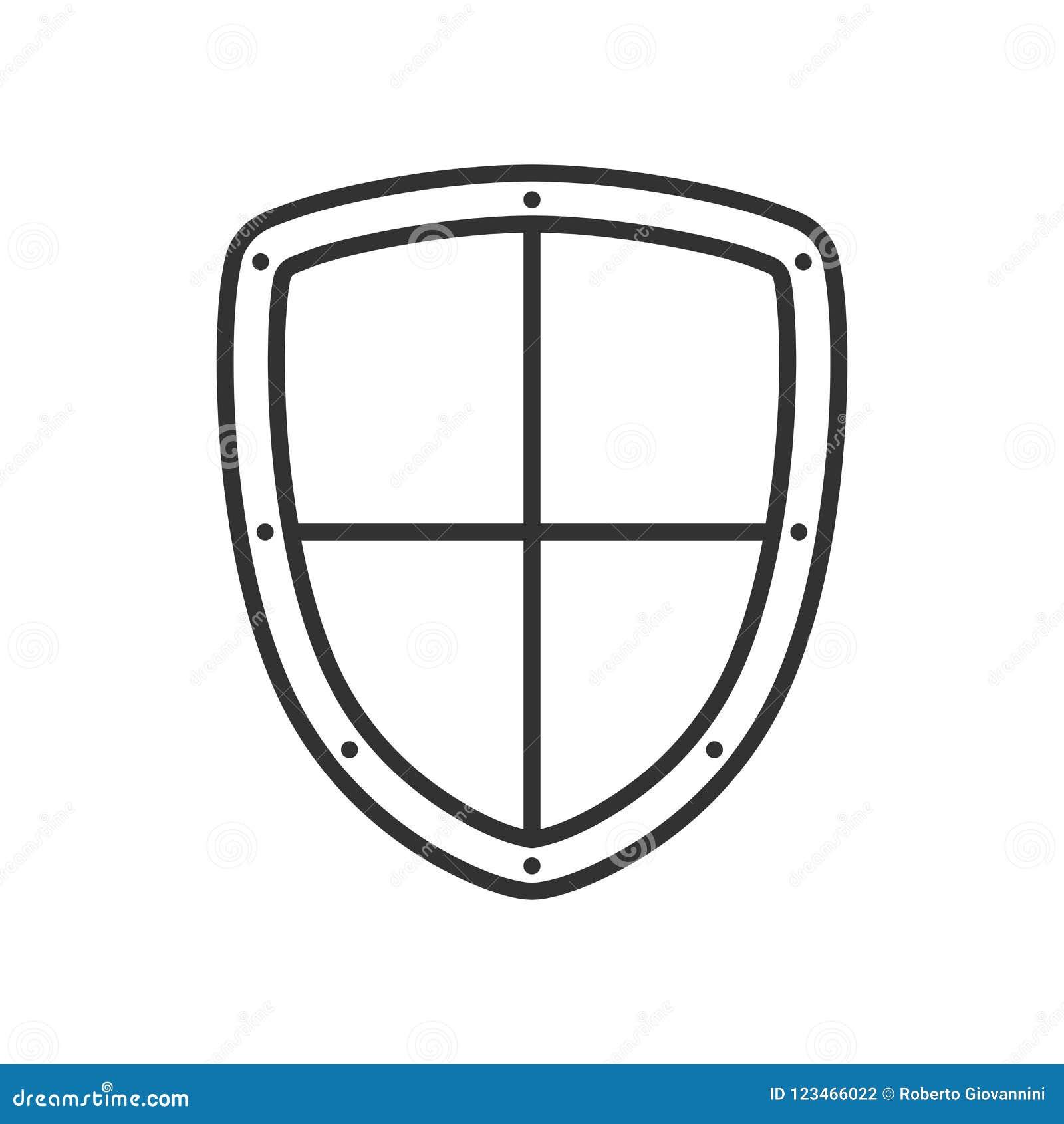 Het Overzichts Vlak Pictogram van het veiligheidsschild op Wit