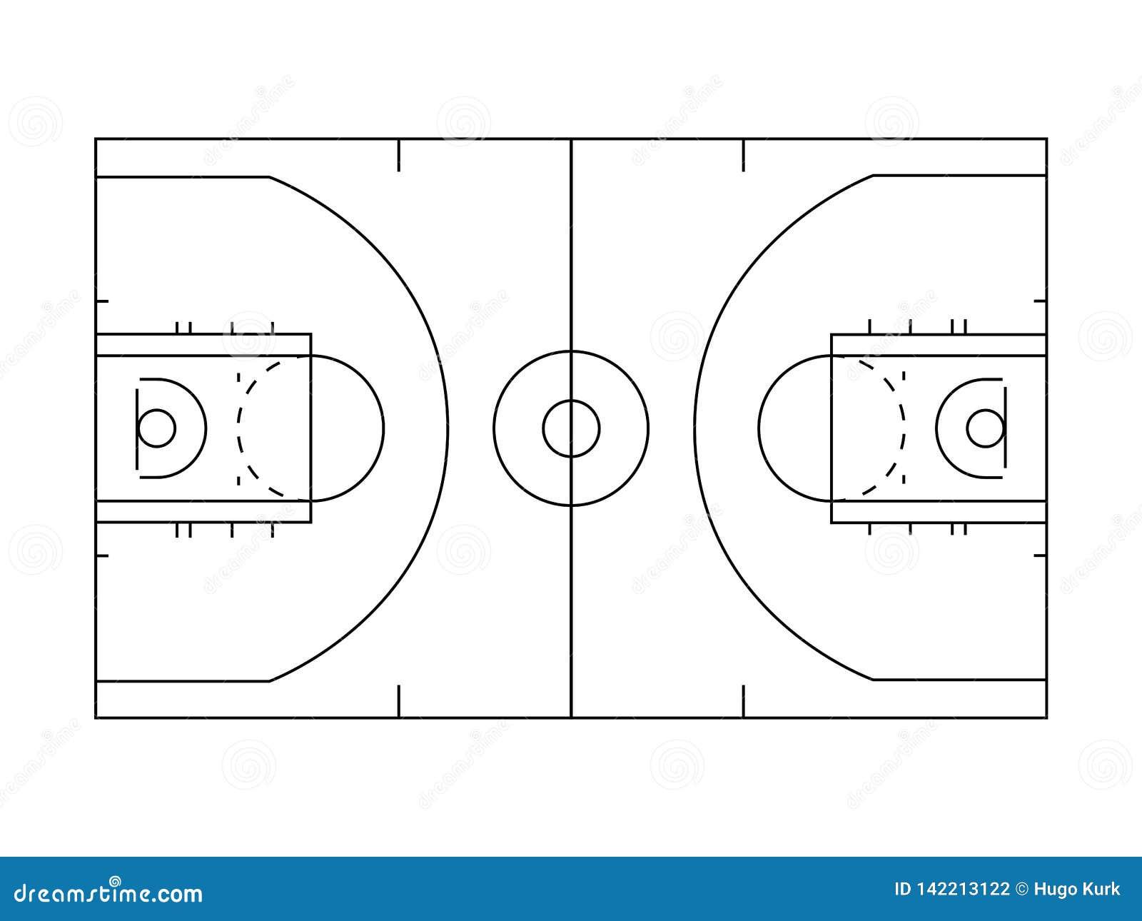 Het overzichtslijnen van het basketbalhof in zwart-wit