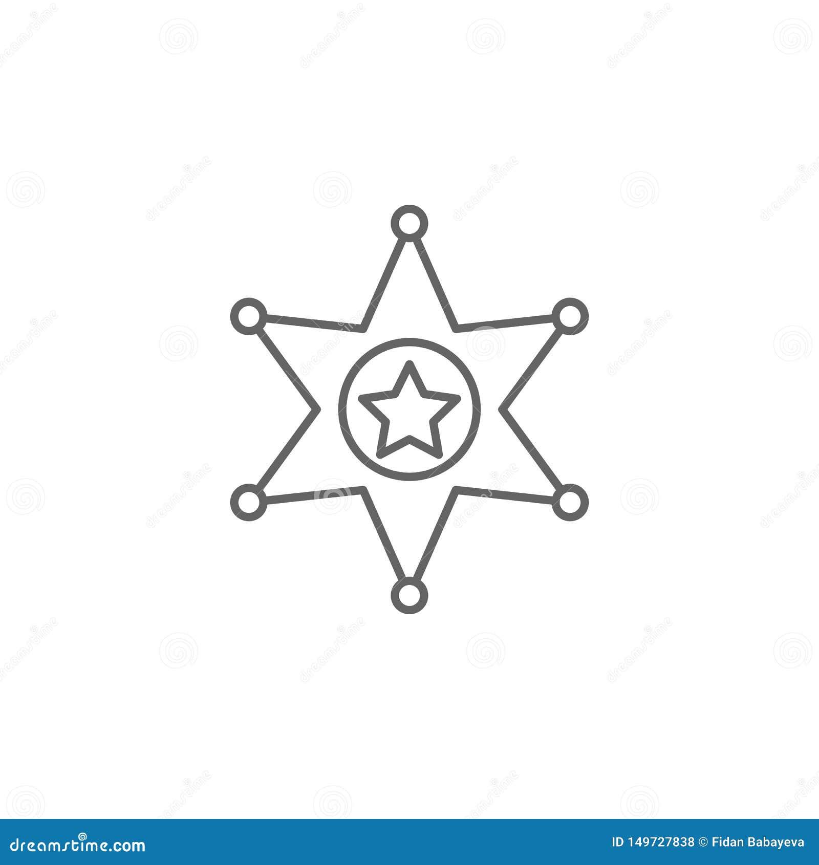 Het overzichtspictogram van de rechtvaardigheidssheriff Elementen van de lijnpictogram van de Wetsillustratie De tekens, de symbo