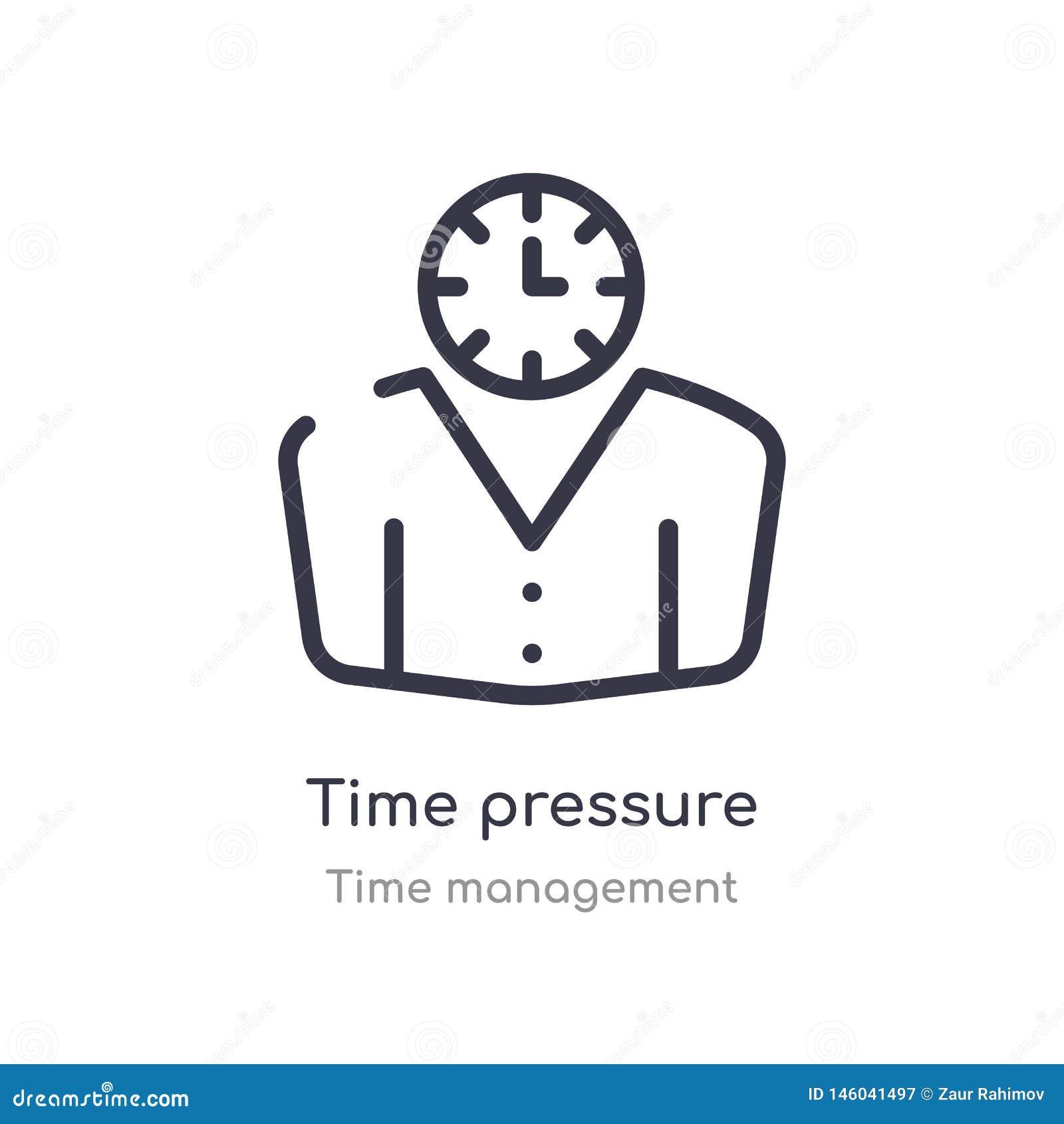 Het overzichtspictogram van de tijddruk ge?soleerde lijn vectorillustratie van de inzameling van het tijdbeheer de editable dunne