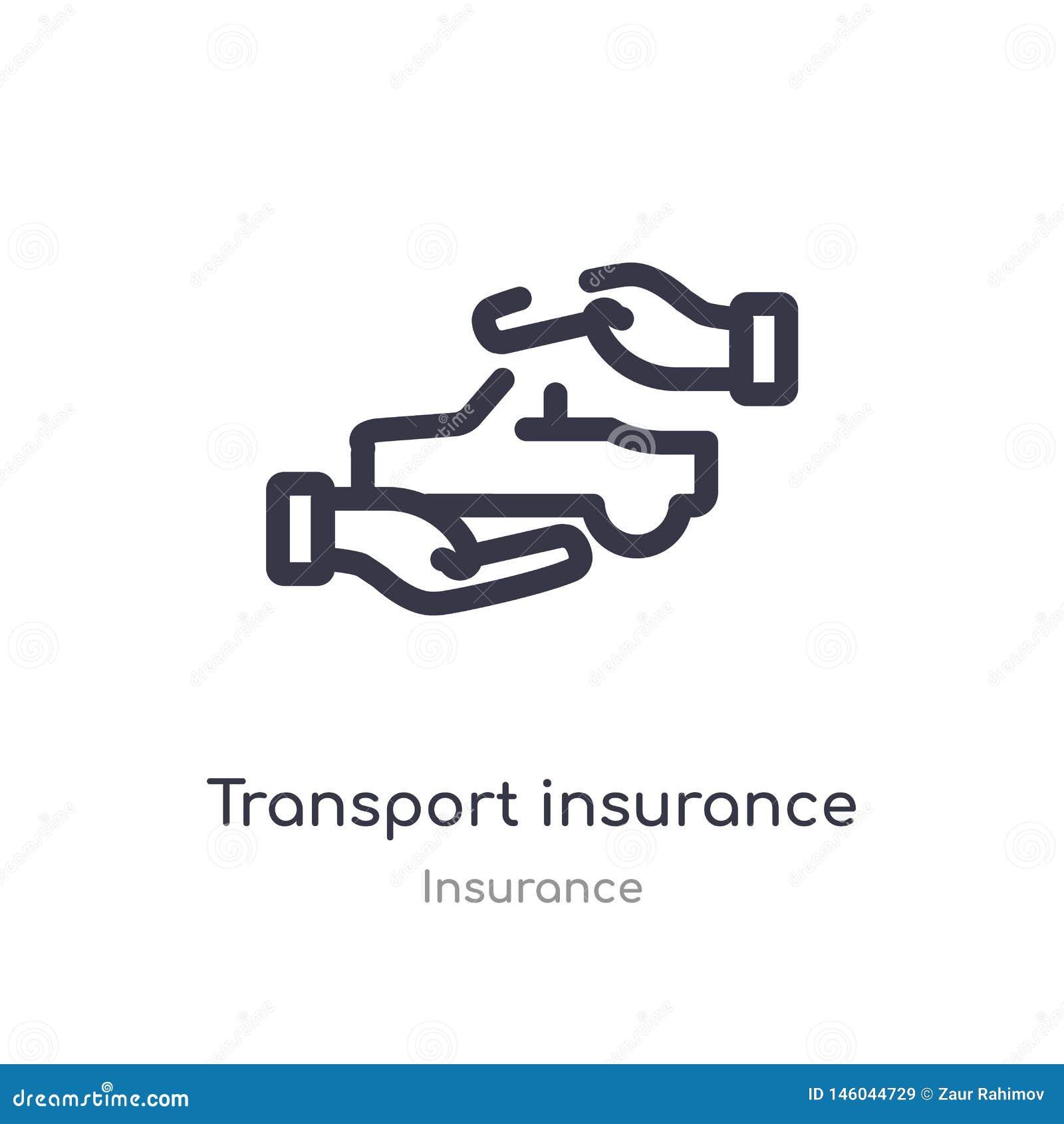 Het overzichtspictogram van de vervoerverzekering ge?soleerde lijn vectorillustratie van verzekeringsinzameling editable dun slag