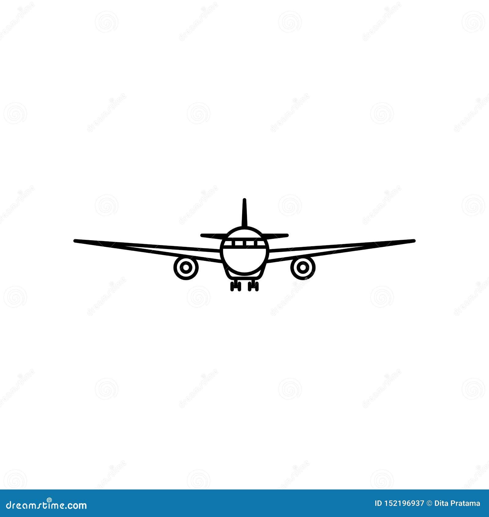 Het overzichtspictogram van het vooraanzichtvliegtuig