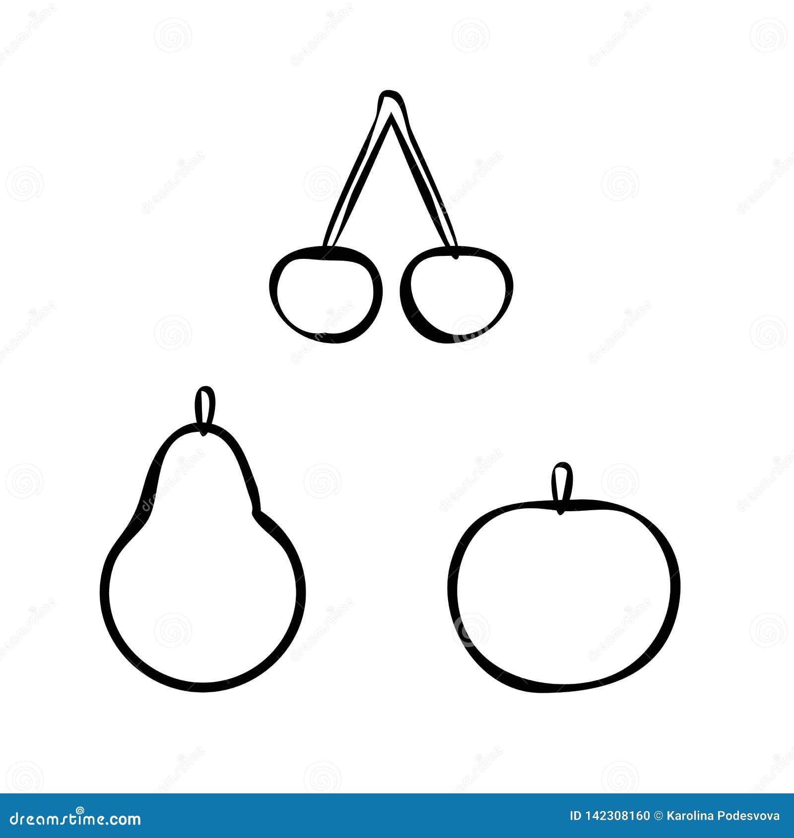 Het overzichtsvector van Apple, van de peer en van de kers
