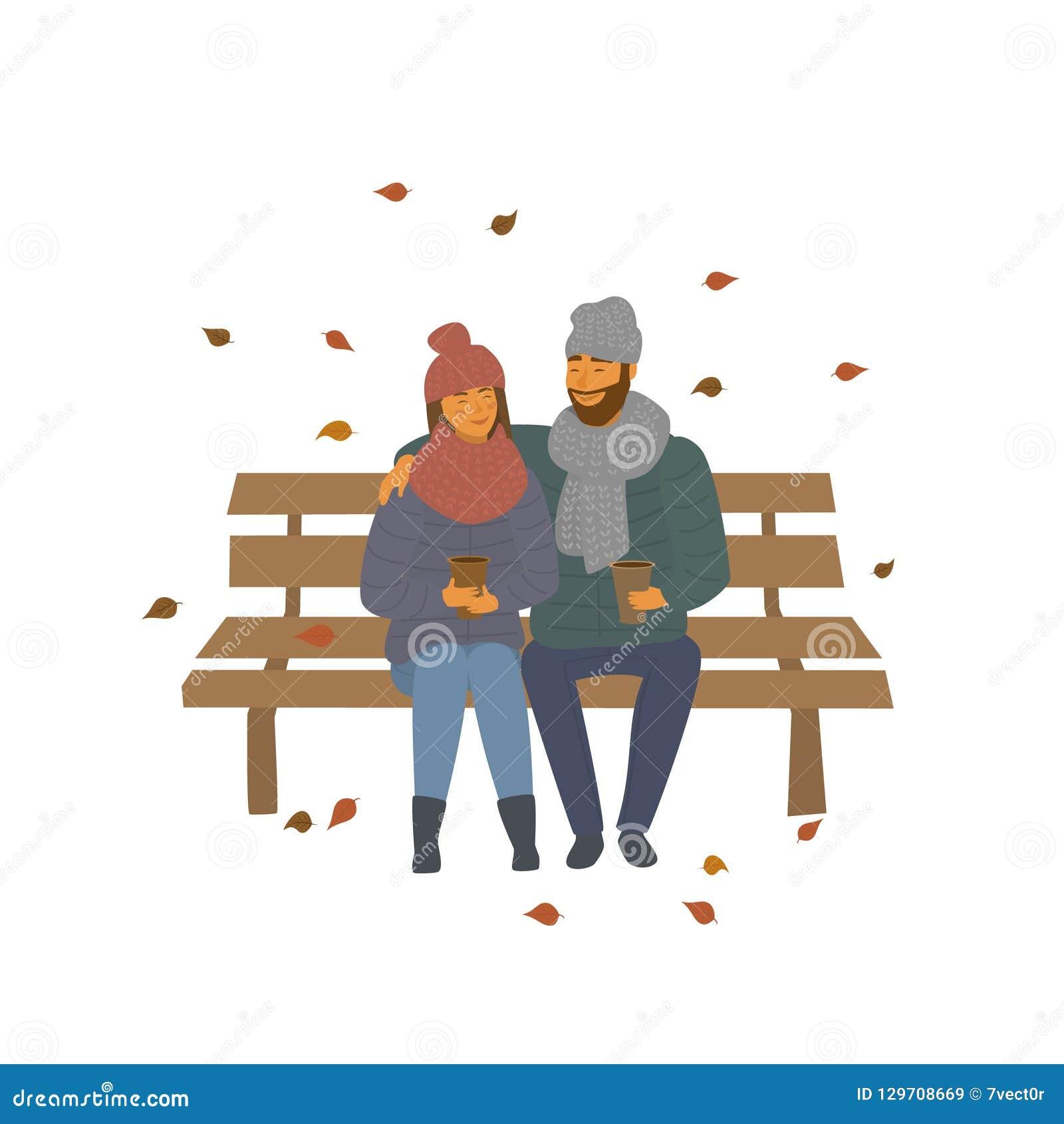 Het paar op een datum in de het parkzitting van de de herfstdaling op een bankscène isoleerde vectorillustratie