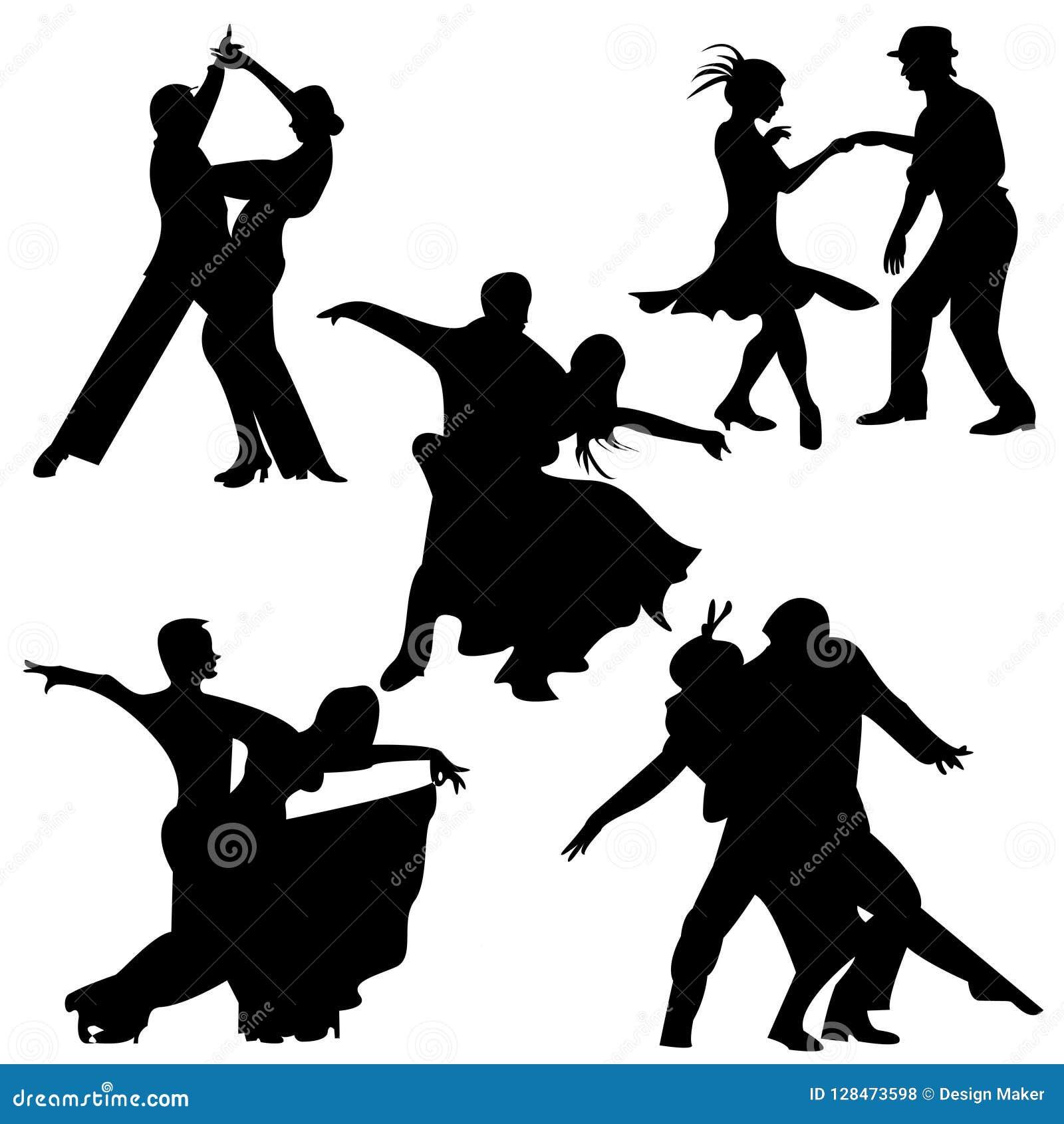 Het Paardans van de Foxtrotdans/van de Balzaaldans silhouetvector