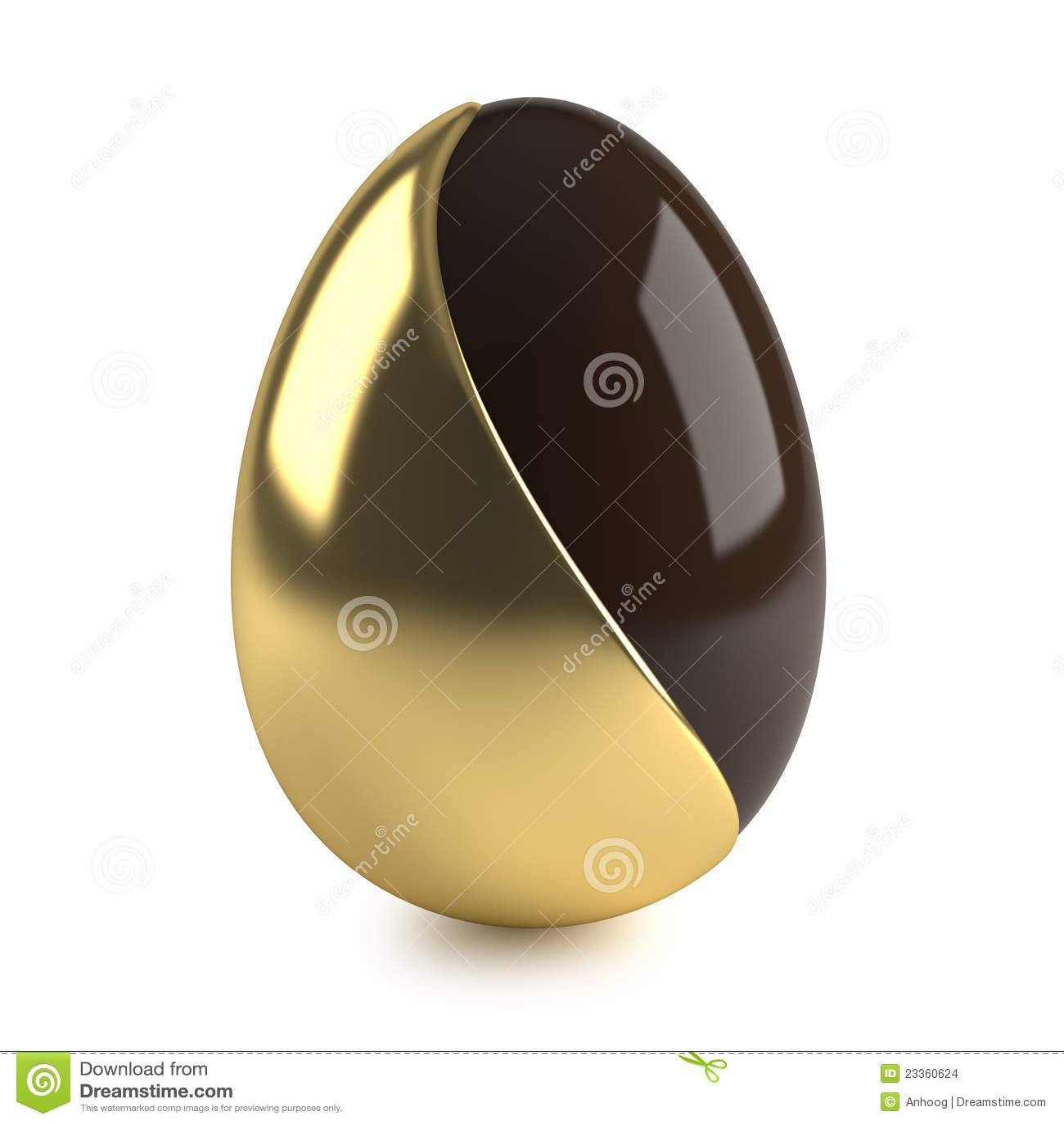 Het paasei van de chocolade met gouden decoratie stock for Decoratie chocolade