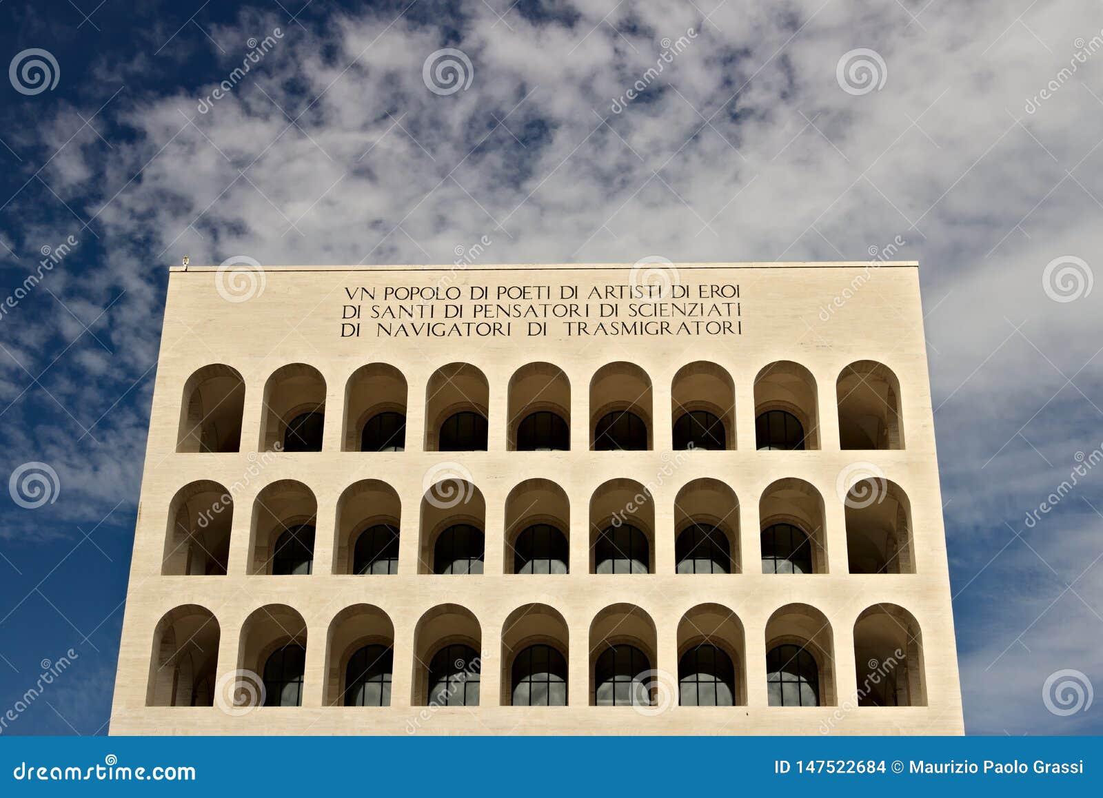 Het paleis van Italiaanse Beschaving bouwde Rome EUR in Fendiexhibiti