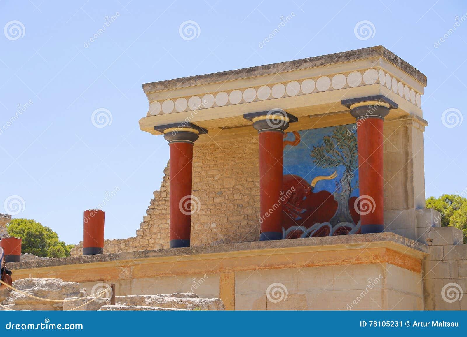 Het paleis van Knossos Detail van oude ruïnes van beroemd Minoan-paleis van Knosos Het eiland van Kreta, Griekenland