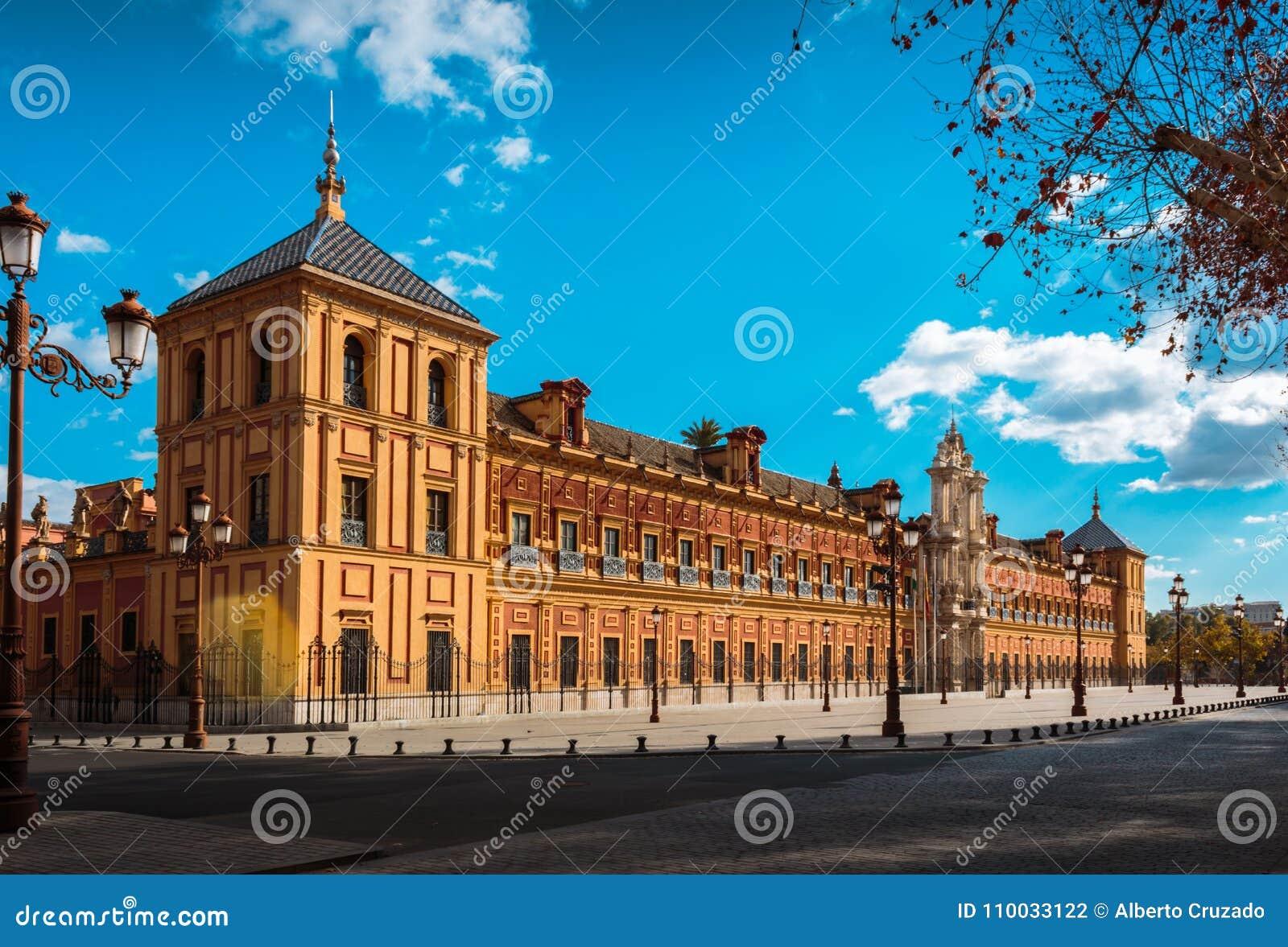 Het Paleis van San Telmo ` s in van de binnenstad van Sevilla, Spanje