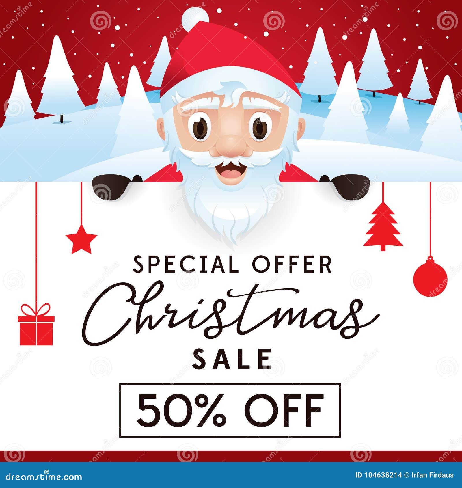 Download Het Pamflet Van De Kerstmisverkoop, Korting Tot 50 Percenten Vector Illustratie - Illustratie bestaande uit marketing, aanbieding: 104638214