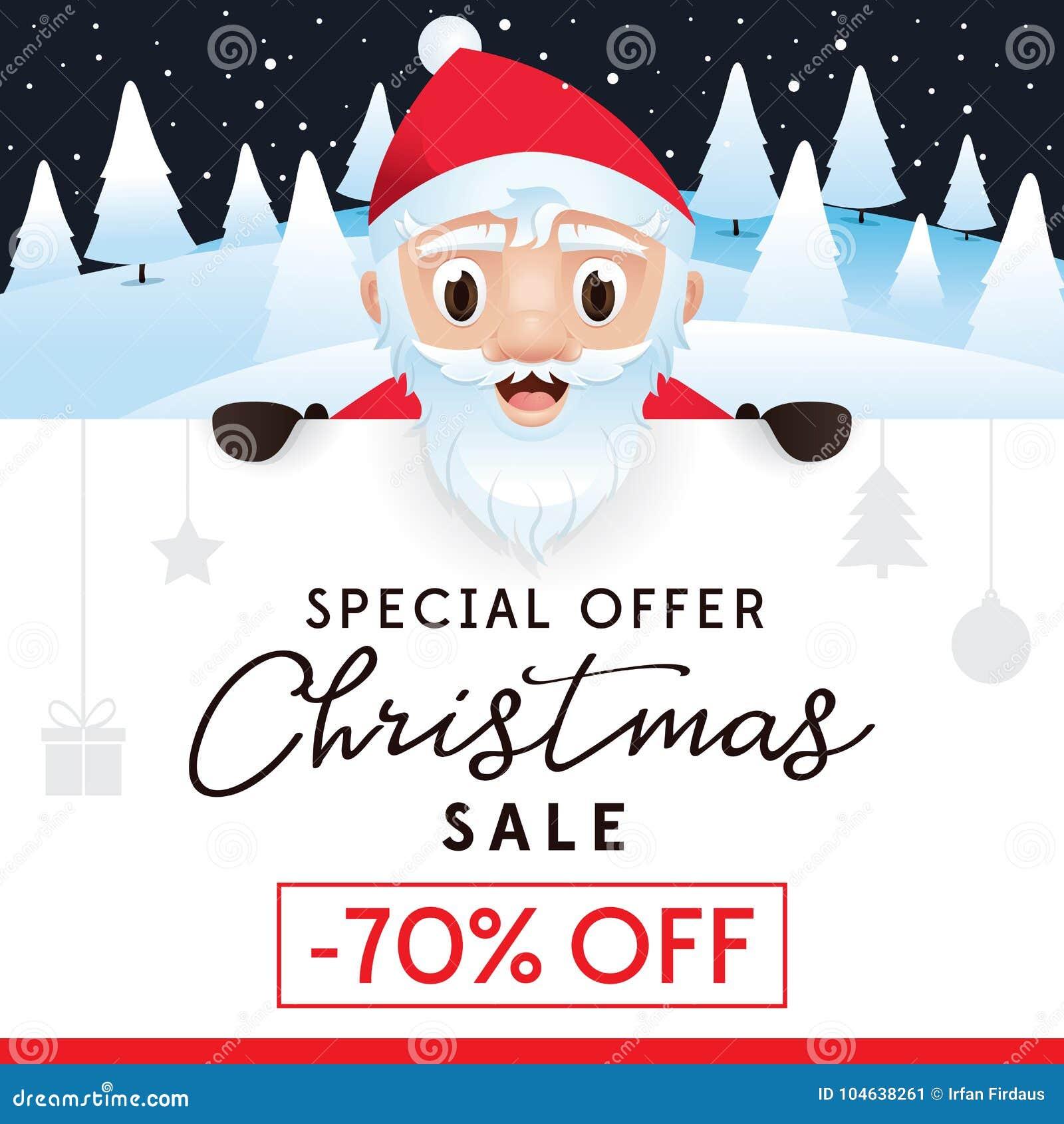 Download Het Pamflet Van De Kerstmisverkoop, Korting Tot 70 Percenten Vector Illustratie - Illustratie bestaande uit leuk, voor: 104638261