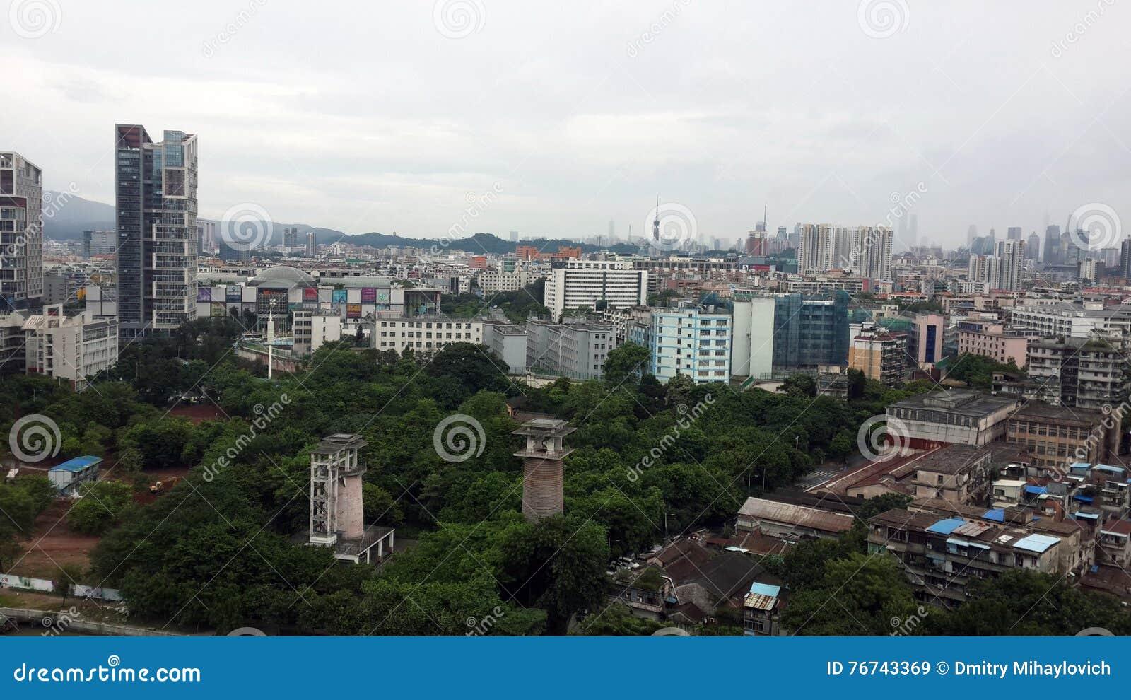 Het panorama van de Guangzhoustad