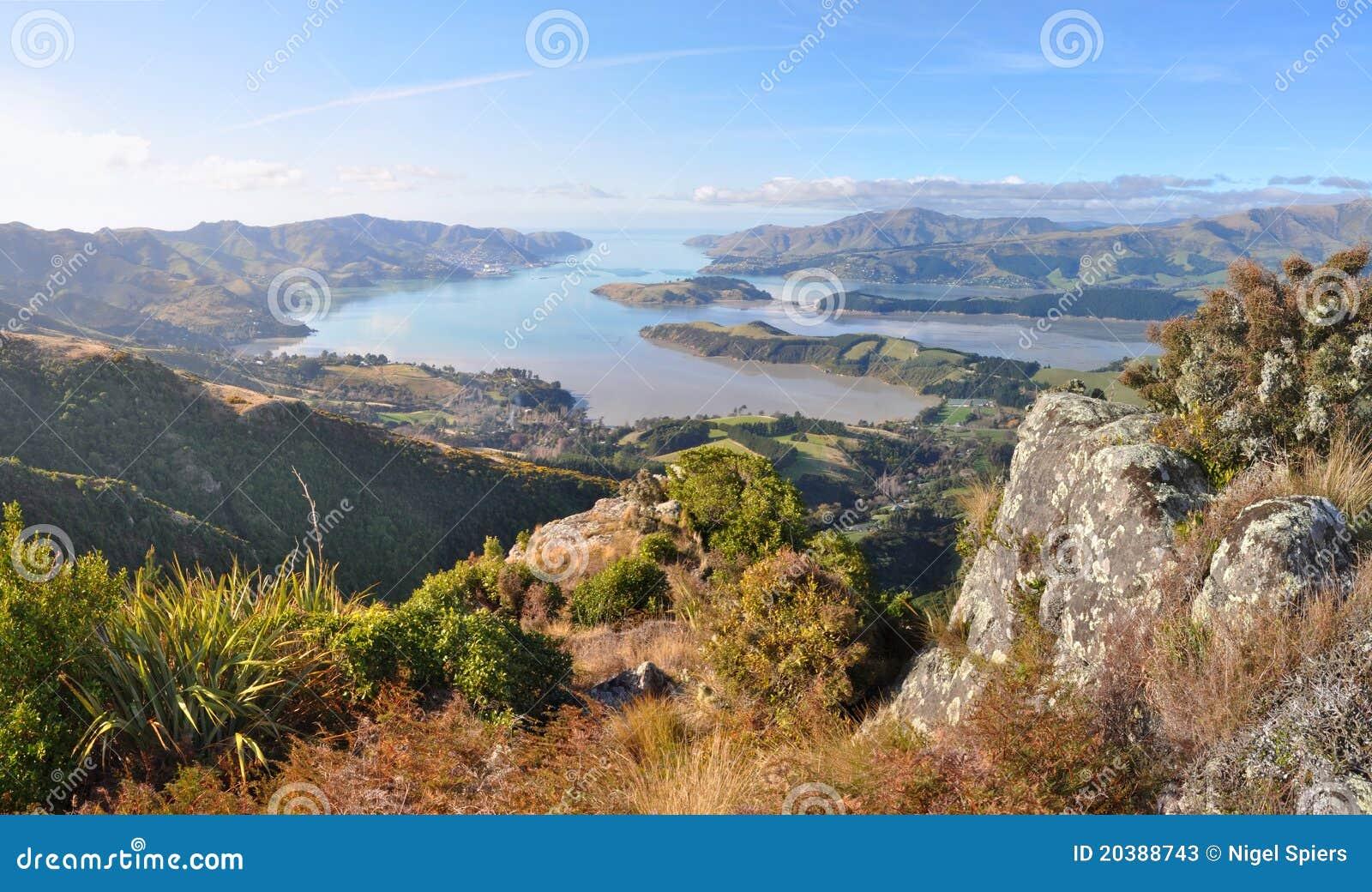 Het Panorama van de Heuvels van de Haven van Christchurch, Nieuw Zeeland
