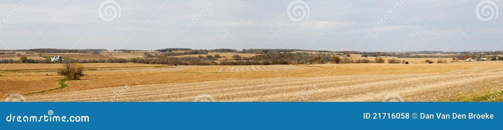 Het panorama van het het landbouwbedrijfgebied van de daling