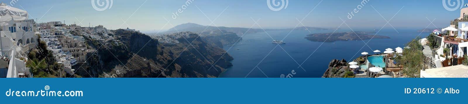 Het panorama van Santorini